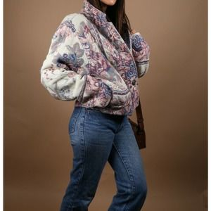 Vintage Floral Multicolor Knitted Cotton Jacket One Size